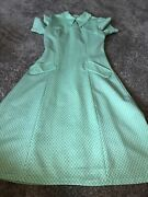 Vintage Novelty Print Dress Green White Long With Collar