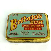 Britain's Best Radiogram Gramophone Tin And Gold Colour Needles - Vintage
