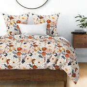 Earth Florals Rust Dashes Cream Earthy Blush Sateen Duvet Cover By Spoonflower