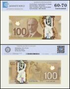 Canada 100 Dollars Banknote, 2011, P-110c, Unc, Polymer, Tap 60-70 Authenticated