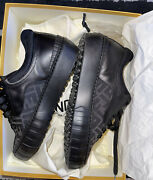Authentic Fendi Men's Black Ff Print Low Top Sneakers Fits 8.5-9 Us Shipped Usa