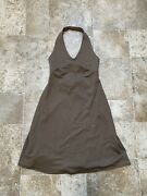 Womens Morning Glory Halter Dress Tie Back Athletic Brown Sz Sm/ Xs
