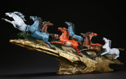 28huge Old China Pure Bronze Fengshui 8 Eight Horse Horses Animal Statue