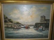 Shirley Carnt Isle Of Anglesey Wales Uk Original Painting Fishing Boats Birds