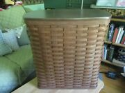 Longaberger Large Holds It All Storage / Laundry Hamper Basket W Protector And Lid