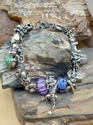 Authentic Troll Beads Sterling Silver Charm Bracelet With 21 Charms Fine...