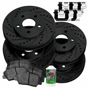 [full Kit]powersport Black Drilled Slotted Rotors And Ceramic Pads Bbcc.61058.02