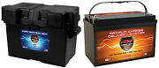 Vmax Xtr31-135 + Grp 27-31 Box For Glastron Pwr Boat Marine Dp Cycle 12v Battery
