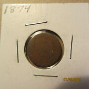 1874  Indian Head Small Cent Bronze Listed At Half Price
