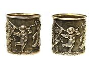 Antique Pair Of Russian Silver Shot Cups