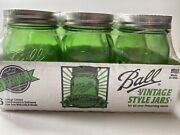 New And Sealed Vintage Style 100th Anniversary Ball Mason Glass Jars 6 Green Pint