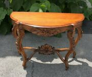 19th Century Carved Semicircular French Console Table, Solid Walnut