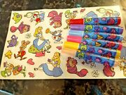 Rare Vintage 1990and039s Disney Alice In Wonderland Sticker Page Six Markers Art Set