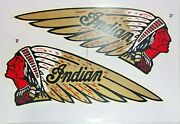 Decal Warbonnet Gold Red For Indian Motorcycle 10.25x4 Water Transfer Sticker