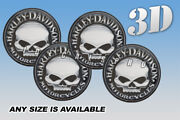 Harley Davidson Scull Wheel Cap Domed Decals Emblems Stickers S/b Any Size