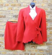 Thierry Mugler Activ Women Red Two Piece Floral Cut Skirt And Blazer Suit Sz Uk 14