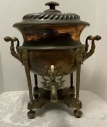 Antique Victorian Copper Samovar Egyptian Revival Large Hot Water Urn Paw Feet