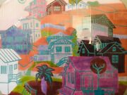 🔥 Antique Mid Century Modern Abstract Pop Cityscape Painting Hockney - Signed