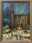 🔥 Antique Mid Century Modern Abstract Mexican Impressionist Oil Painting Signed