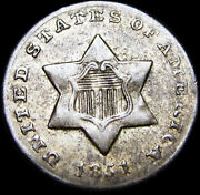 1851-o Silver Three Cent Piece 3cp ---- Stunning Rare Type Coin ---- G673