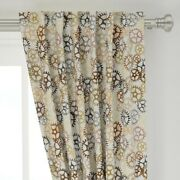 Steampunk Gears Geek Yellow Brown Rust 50 Wide Curtain Panel By Roostery