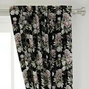 Muted Floral Pattern Dark Moody Steampunk 50 Wide Curtain Panel By Roostery