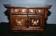 22.4old China Huanghuali Wood Inlay Shell Dynasty Drawer Cupboard Cabinet Table