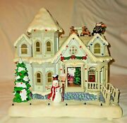 Holiday House With Led Light Show And Music - Santa And Sleigh On Roof - Snowman