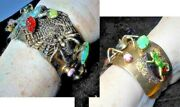 Frog And Spider Cuff Vintage Magnificent Spider Web Frogs Jeweled Cuff Bracelet