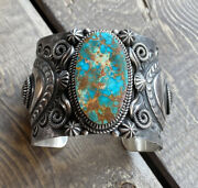 Navajo Delbert Gordon Royston Turquoise And Sterling Cuff Signed