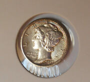 1917 . Mercury Dime . Choice Bu . Uncirculated . Full Bands . Color . . Details