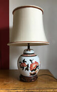 Chinese Style Table Lamp Vintage Hand Painted Flowers Rust - Blue - White Shade