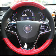 Hand Sewing Top Leather Carbon Fiber Steering Wheel Cover For Cadillac Ats Cts