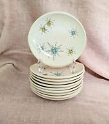 Lot Of 10 Franciscan Atomic Starburst Bread And Butter Plates 6-1/2 Mcm Vintage