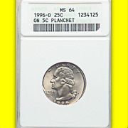 1996-d Anacs Ms64 Quarter On Nickel ✅ Gorgeous Gold Luster ✅ 25c On 5c Planchet