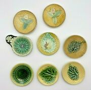 Rare 1800and039s Antique Majolica Pottery Butter Pats Excellent