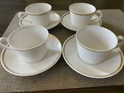 Royal Tudor Ware Bone China Cup And Saucer Gold Plate Set 4 Made In England