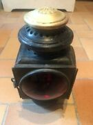 Early Model Ford Auto Carriage Light Embossed Brass Top W/ Red And Clear Convex