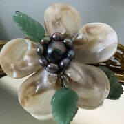 Miriam Haskell Early Unsigned Jade Leaf Pearl Brooch Shell Flower Open Wire Vtg