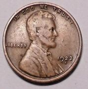 1923 S Lincoln Wheat Cent Penny -  Better Grade - Free Shipping
