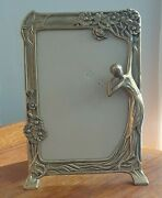 Victorian Antique Goldtone Brass Picture Frame W/ Lady Flowers - No Glass