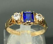 9ct Solid Gold W/ Spinel And White Stone Ring 2.56g Size N 1/2 - 6 3/4