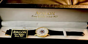 Avalon, Vintage, Gold Plated Face, Cadillac,bl Band Fine Watches Since 1927nwt