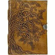 Handmade Tree Of Life Genuine Leather Bound Notebook Journal Unlined Paper For