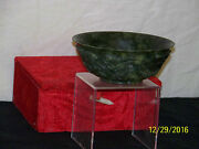 Old Chinese Spinach Jade Carved Dragon Sides Bowl W/box