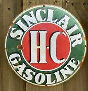 Vintage Sinclair Hc Porcelain Metal Gas And Oil Farm Tractor 12andrdquo Fuel Barn Sign