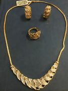Gold Plate Jewelry Set 1/5 Ct T Weight Diamonds Necklace Earrings Ring Size7