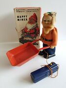 Vintage Asahi Happy Miner Battery Operated Toy Japan 1960and039s.boxed. Not Working