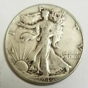 1946-p Walking Liberty 90 Silver Half Dollar 50 Cent Piece Coin Us Currency
