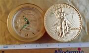 Bulova Lady Liberty Clock Gold Eagle Stacked Coins Desk Travel Wind Up Japan